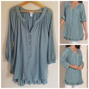 Soft Surroundings Tunic Top Layered Silk Lace XL